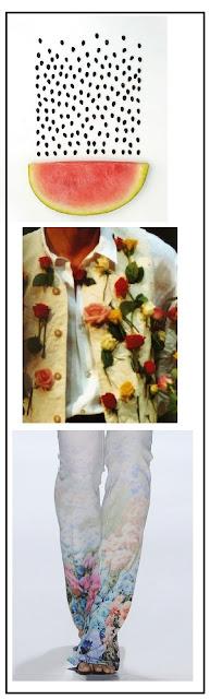 Composición fotográfica. Una sandía con las pepitas sacadas. Detalle de la chaqueta de una mujer con rosas superpuestas. Detalle del final del pantalón con flores estampadas y los tacones.