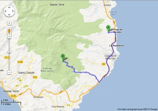 Itinéraire Chutes du Carbet depuis Lamatéliane