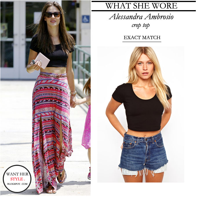 what she wore alessandra ambrosio in black crop top and