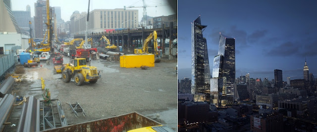 Pictures of the site and rendering of future towers