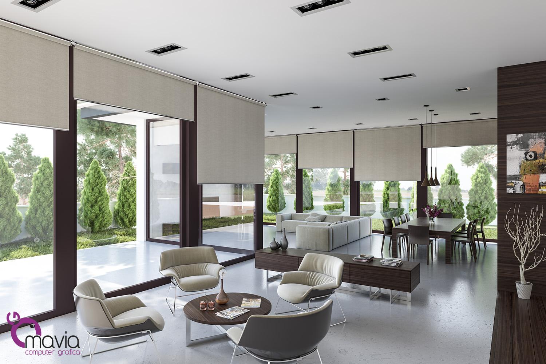 Arredamento di interni tenda a rullo salotto e soggiorno for Salotto e soggiorno