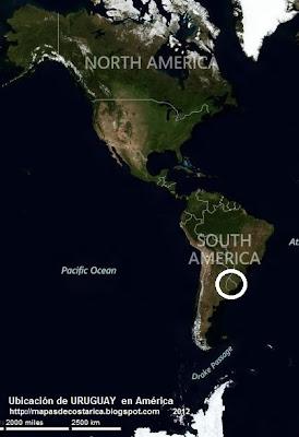 Ubicación de URUGUAY en América, VA, BING