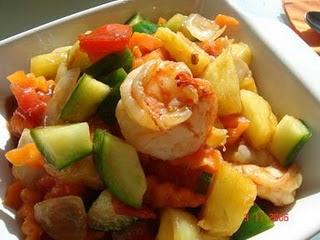 สูตรอาหารไทย : ผัดเปรี้ยวหวานกุ้ง (Thai sweet and sour shrimp)