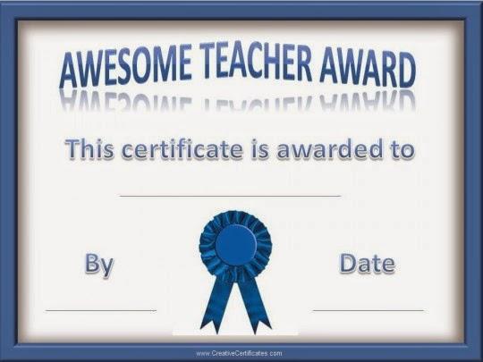 """Award that states"""" Awesome teacher award"""""""