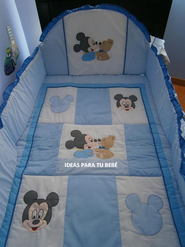 Ideas para tu bebe edredon de cuna mickey bebe con osito - Vestir cuna bebe ...