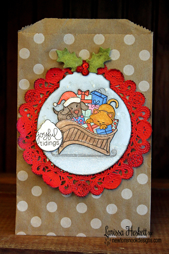 Cat and Dog in Sleigh ChristmasTreat Pouch by Larissa Heskett for Newton's Nook Designs - Christmas Delivery Stamp Set