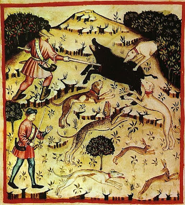 The great boar hunted beneath the green hill, from a 14th century Tacuinum Sanitatis - via Sailko at Wikimedia Commons - public domain