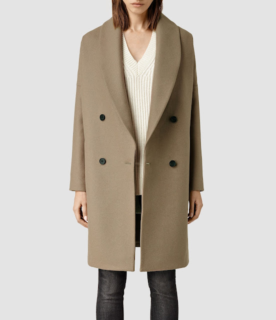all saints camel coat,