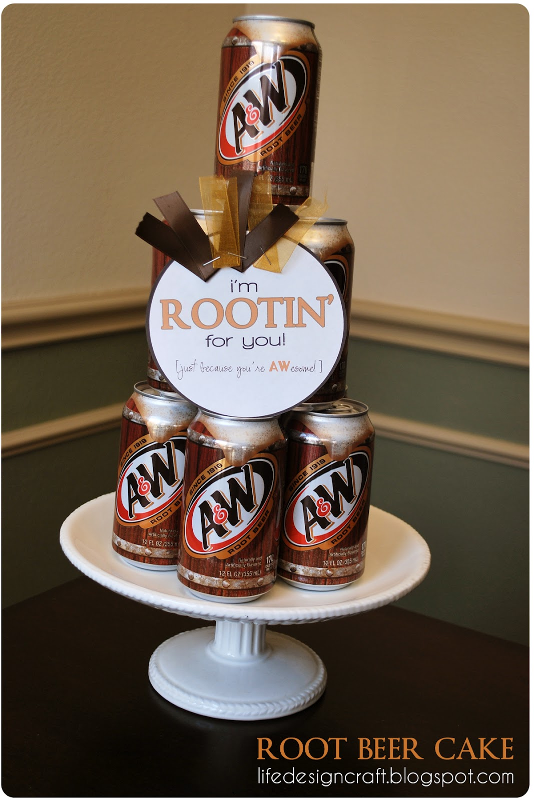 rooting for him each and every day so i built him a root beer cake