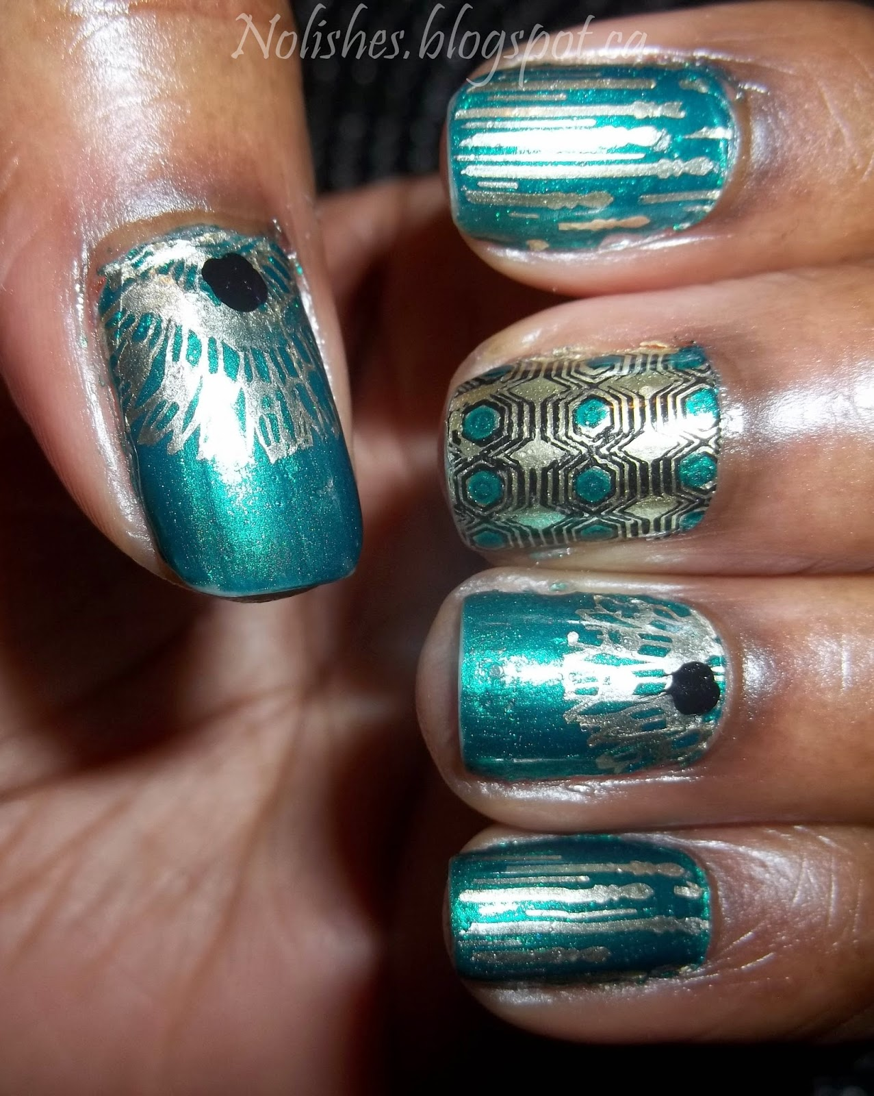 Metallic Green, Gold & Black Manicure featuring nail stamping images from Moyou London Artist Collection Plate 07