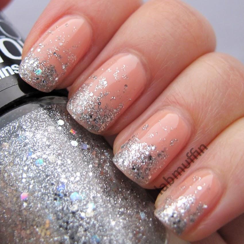 Polish Or Perish: Silver Glitter Gradient Over Nude Nails