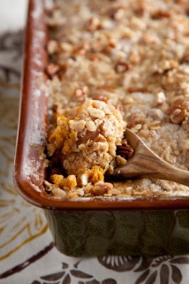 Sweet Potato Bread Pudding with Pecan Crumble