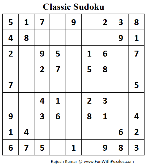 Classic Sudoku (Fun With Sudoku #79)