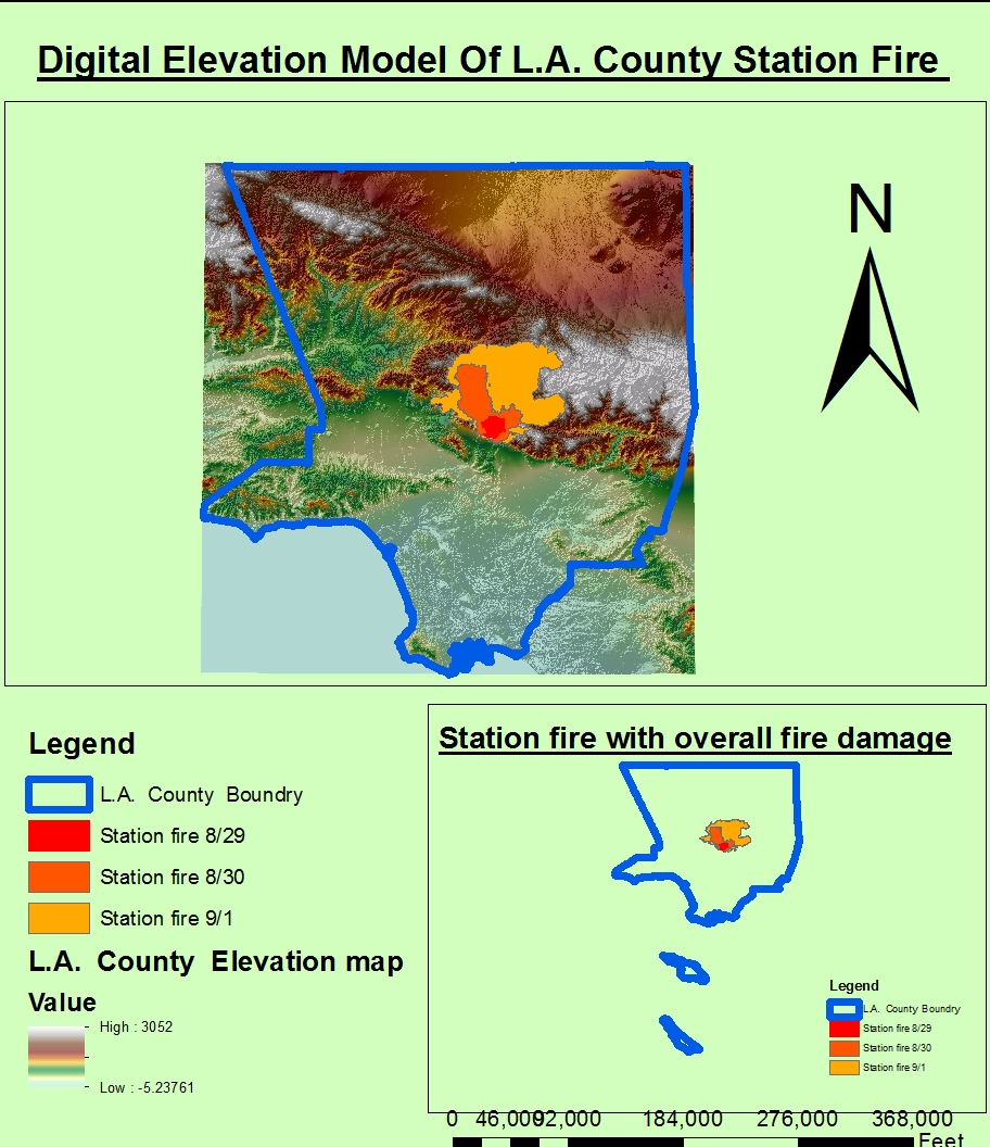 first of all let us look at the picture above named digital elevation model of l a county station fire namely this picture shows us the relationship