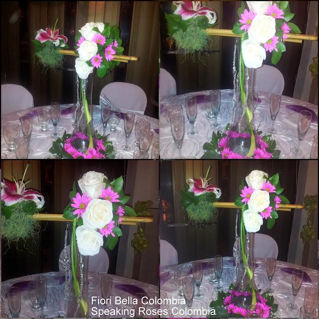 Centro de mesa para boda en base de vidrio fiori bella for Base de cristal para mesa