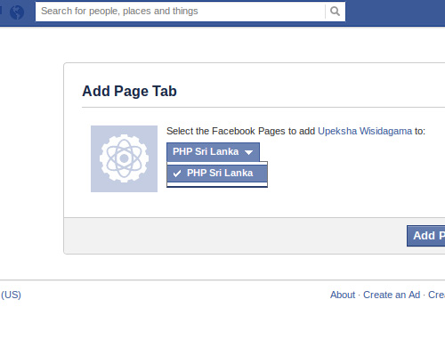 add facebook app to profile tab