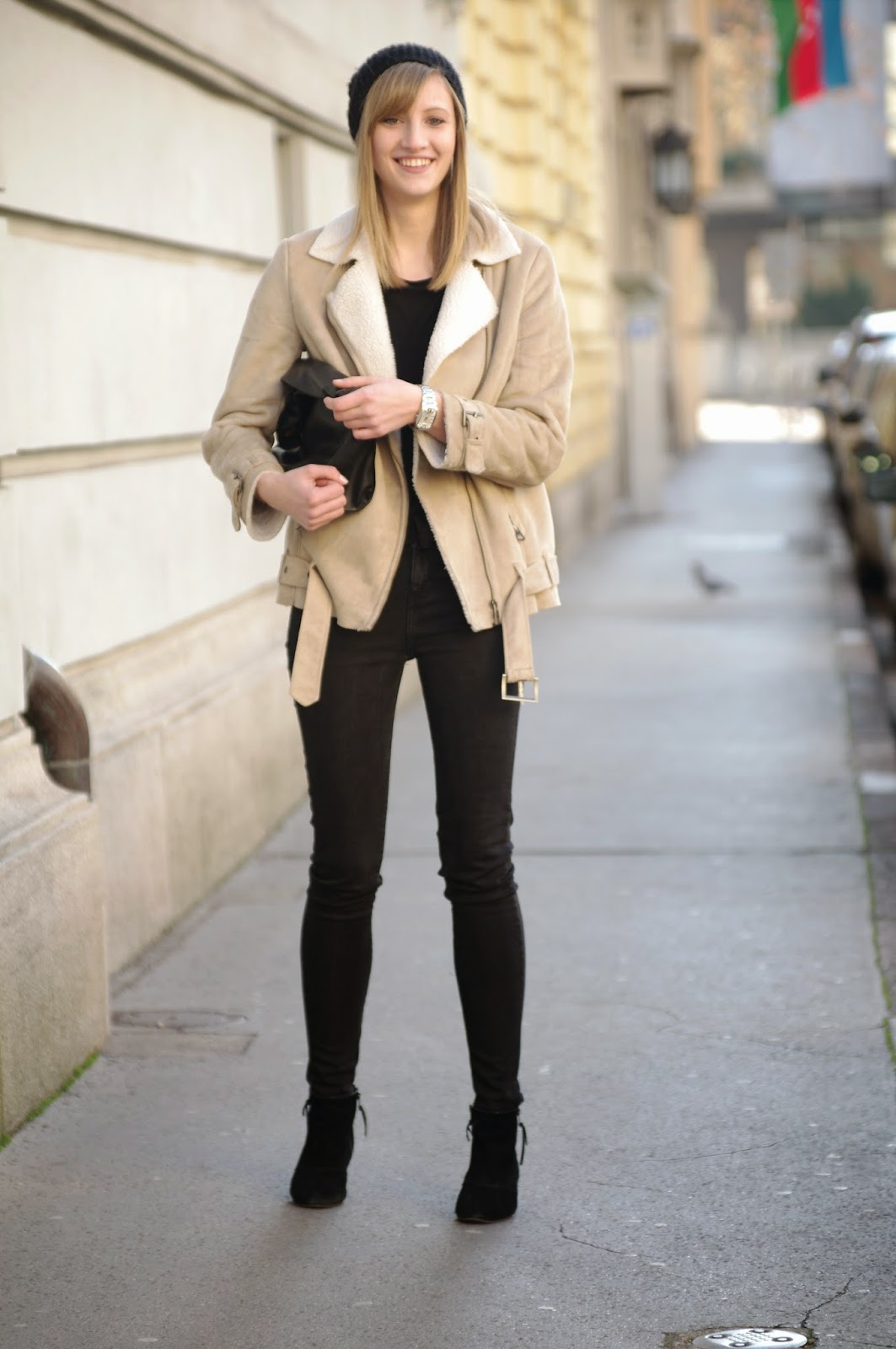 Beige Sheepskin Coat Jacketin