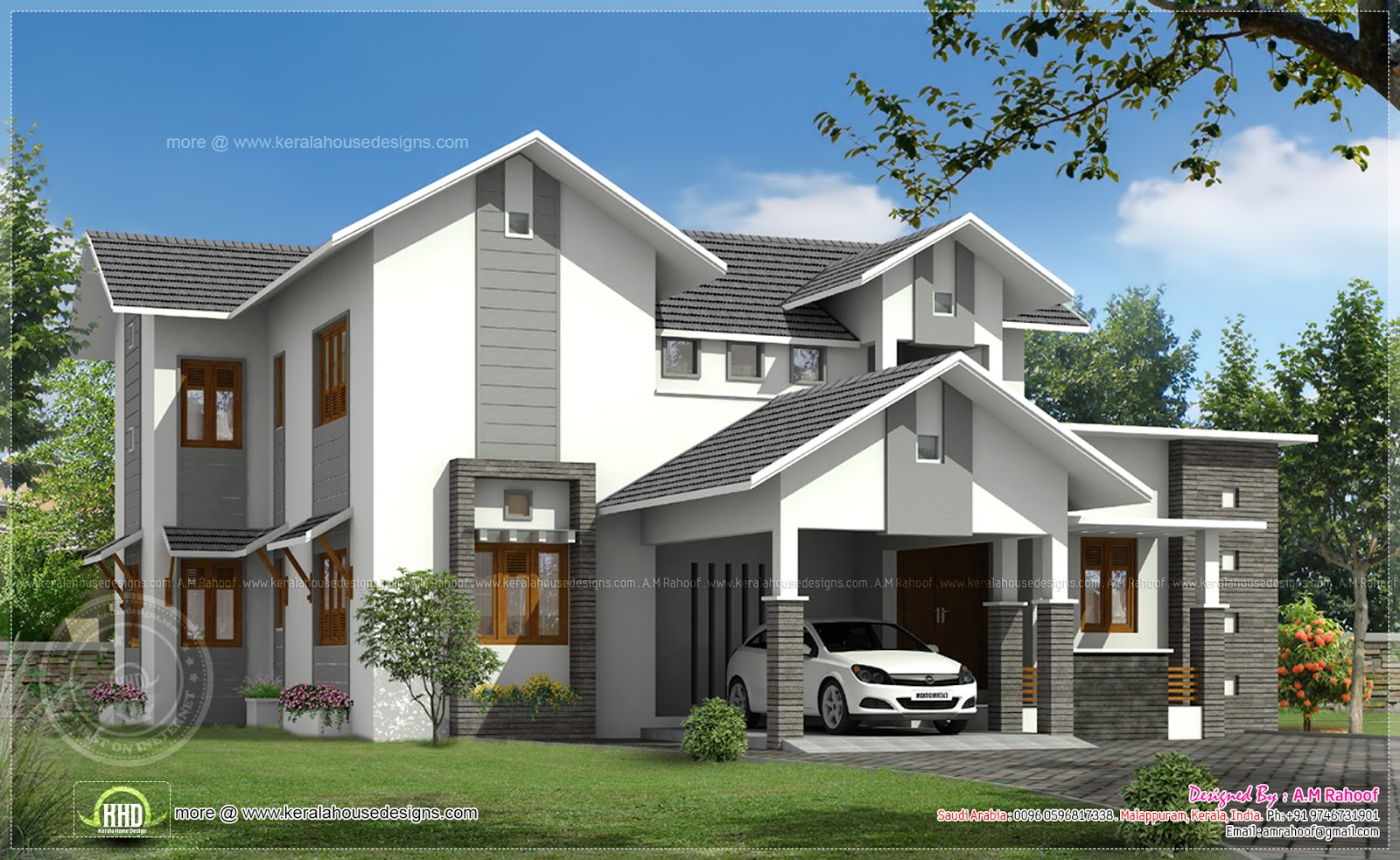 Modern sloping roof house in 260 sq m indian house plans for Sloped roof house plans in india