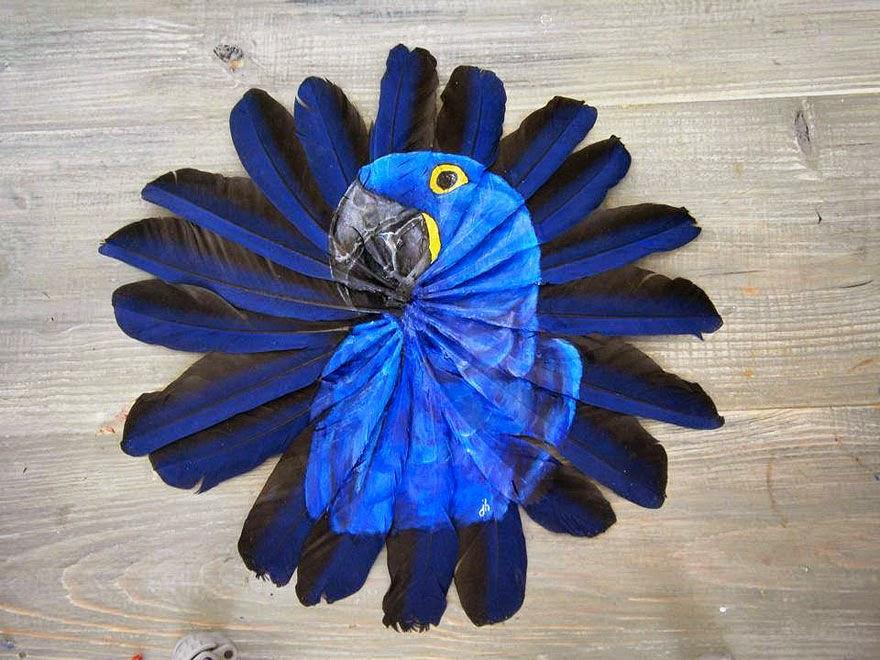 ببغاء أزرق على ريش أزرق