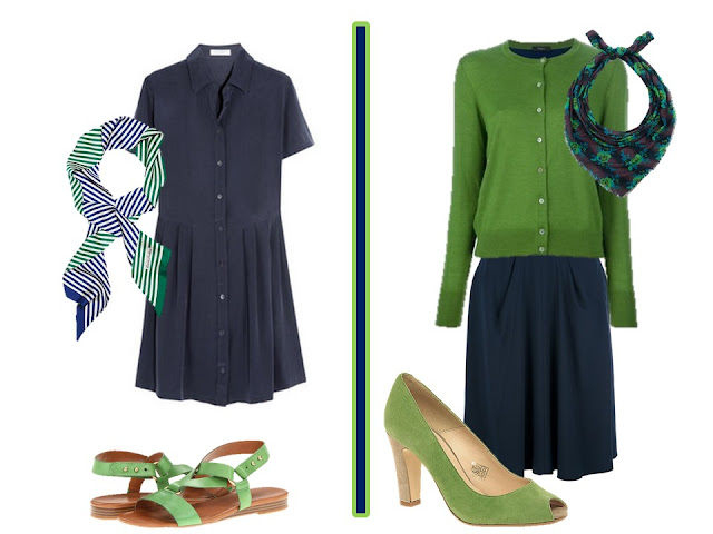 navy and green outfits with a dress or a skirt