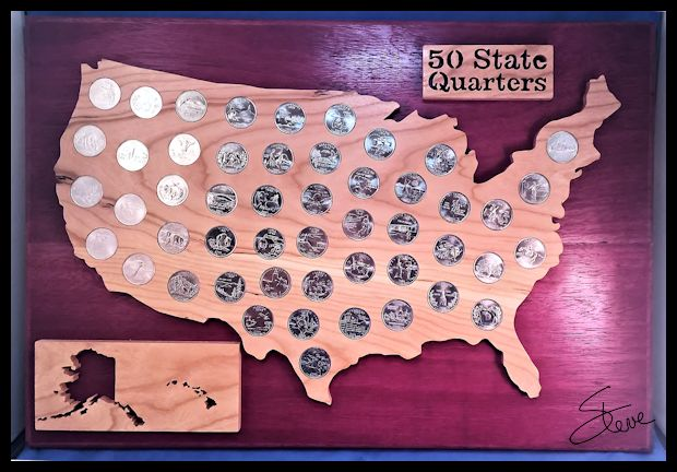 Scrollsaw Workshop US State Quarter Display Scroll Saw Pattern - Us map for quarters