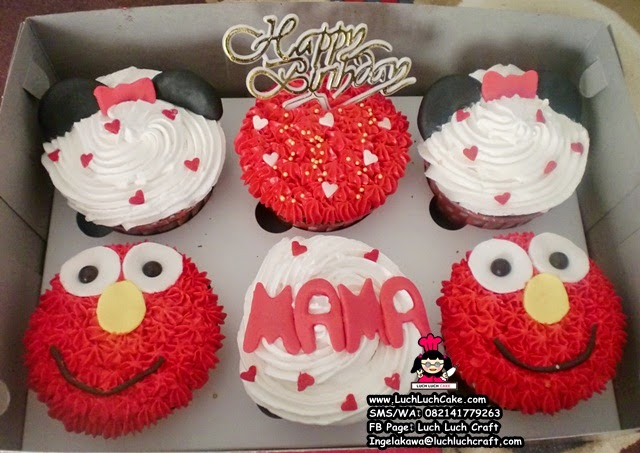 Cupcake Buttercream Mickey Mouse dan Elmo