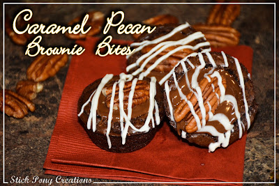 Caramel Pecan Brownie Bites with a caramel surprise in the middle #BiteSizedBliss