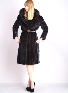 Vintage 1960's dark brown mink long fur coat with black leather panelling