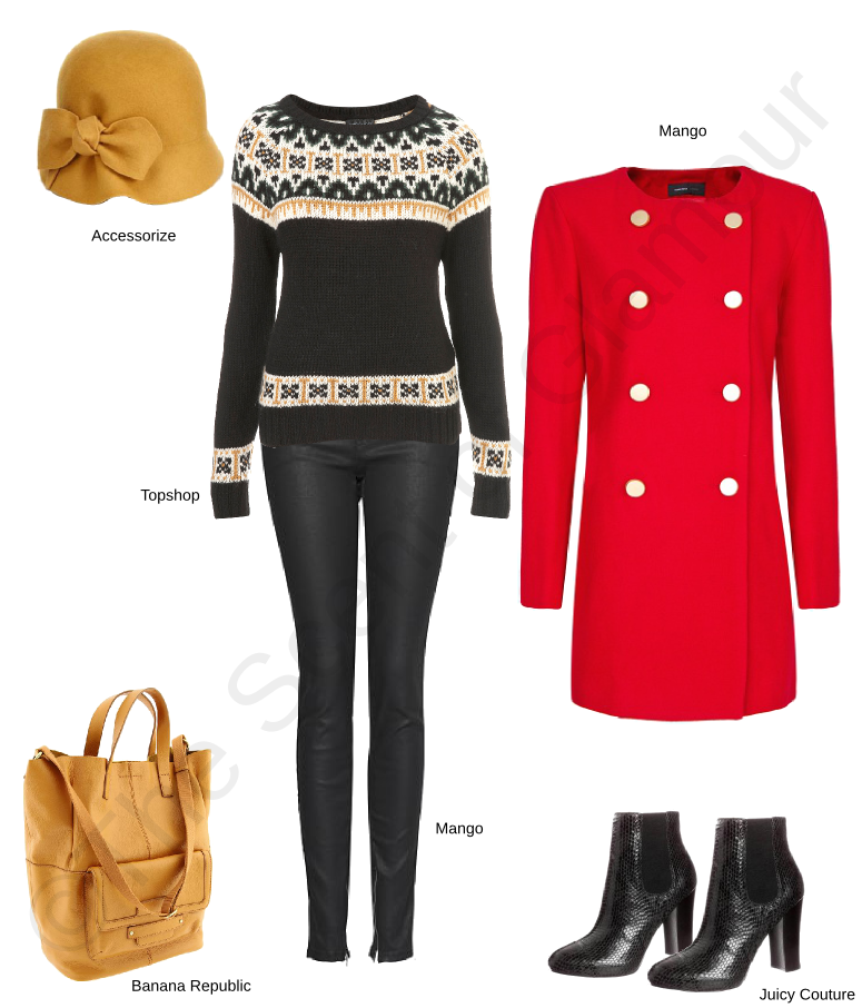 topshop knitted jersey, accessorize hat, banana republic bag, juicy couture boots, mango pants, mango trousers, mango red coat with gold buttons