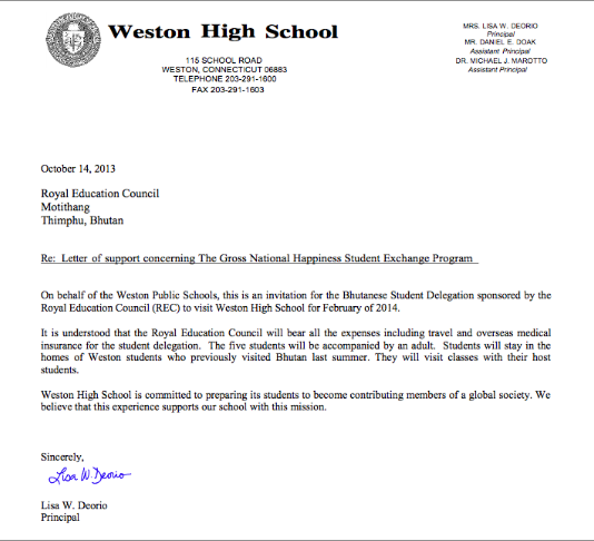 Gross national happiness exchange program 2013 document signed weston high school letter of endorsement for the gross national happiness exchange program stopboris Image collections