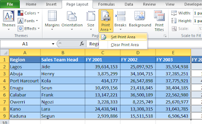 how to set print area in excel to one page
