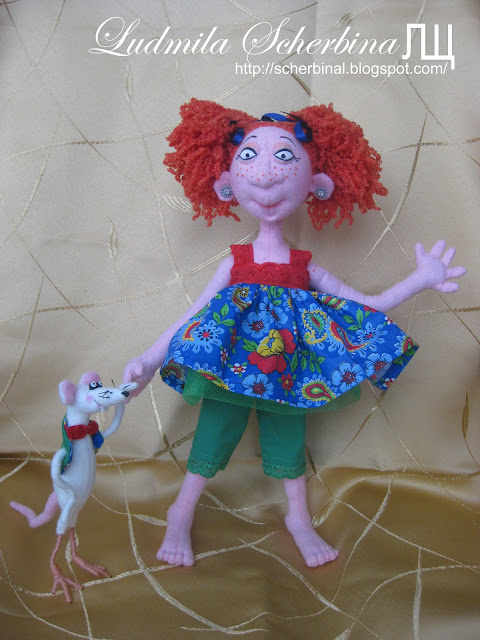 Текстильная кукла на проволочном каркасе с крысом