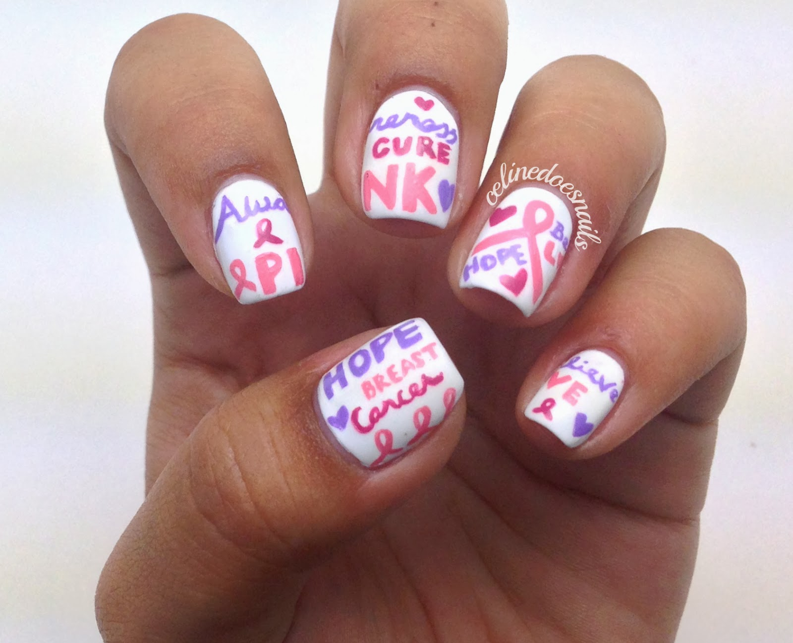 Nails by celine breast cancer awareness nail art breast cancer awareness nail art prinsesfo Images