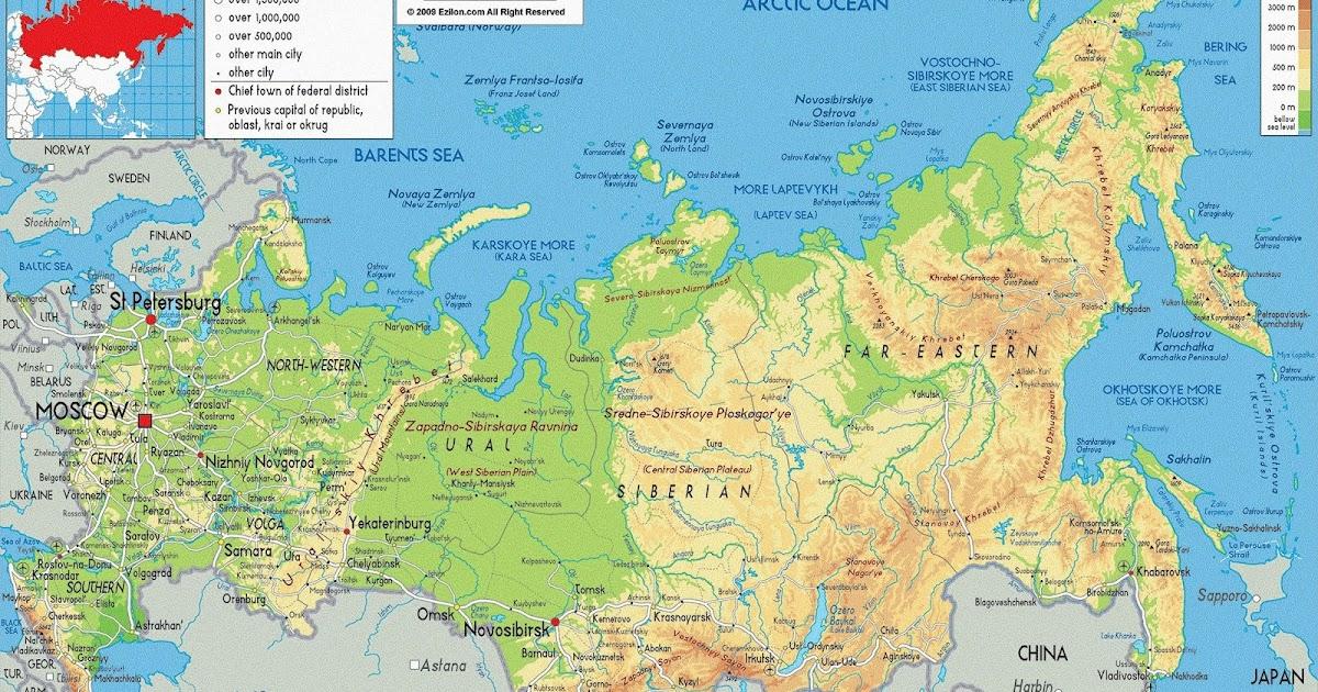 แผนที่ทางกายภาพของประเทศรัสเซีย Physical Map Of Russia