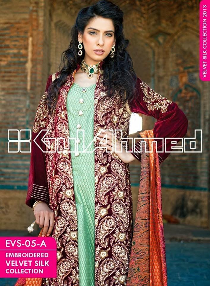 GulAhmedEmbroideredSilkVelvetCoats wwwfashionhuntworldblogspotcom 009 - Gul Ahmed Embroidered Silk Velvet Coats 2014