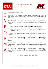 C.T.A. INFORMA CRÉDITO HORARIO CRISTOBAL NIETO, AGOSTO 2019