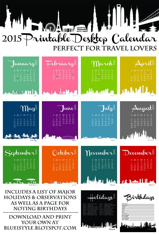 2015 Desktop Calendar