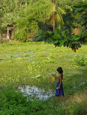 Girl Fishing, Battambang, Cambodia