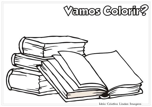 Livros - Volta às Aulas - Dia do Livro Infantil desenho para colorir