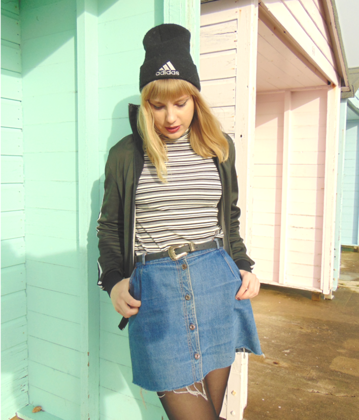 adidas jacket, adidas beanie, sport luxe outfit, vintage retro sporty outfit, polo neck, roll neck, denim button down skirt, vintage alternative fashion style inspiration, el paso studded pointed boots