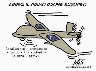 Droni, europa, pensioni, vignetta, satira
