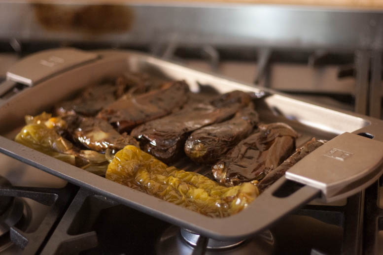 Berenjenas y pimientos a la plancha asados - Cocinar a la plancha ...
