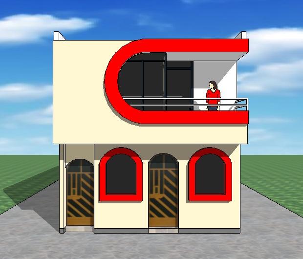 Fachadas y casas casas con frentes de seis metros for Modelo de casa segundo piso