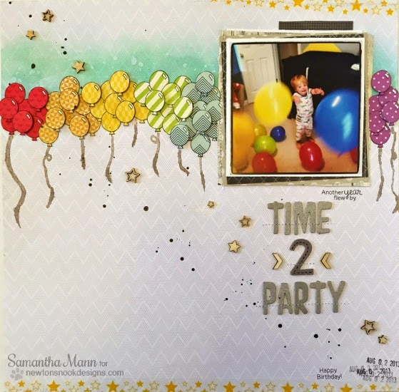 Balloon Scrapbook Page by Samantah Mann | Newton's Birthday Flutter Stamp set by Newton's Nook Designs