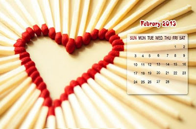 February Wallpapers Calendar 2013