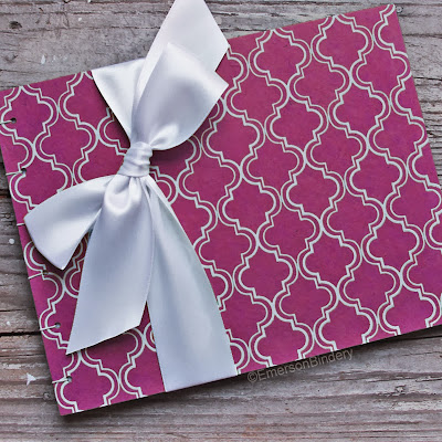 Fuchsia Pink Moroccan Print Guest Book