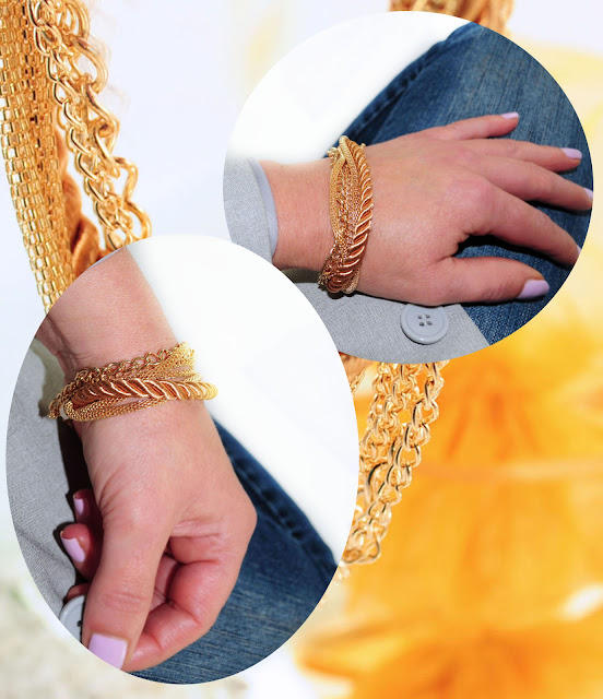 Goldarmband Kordel getragen