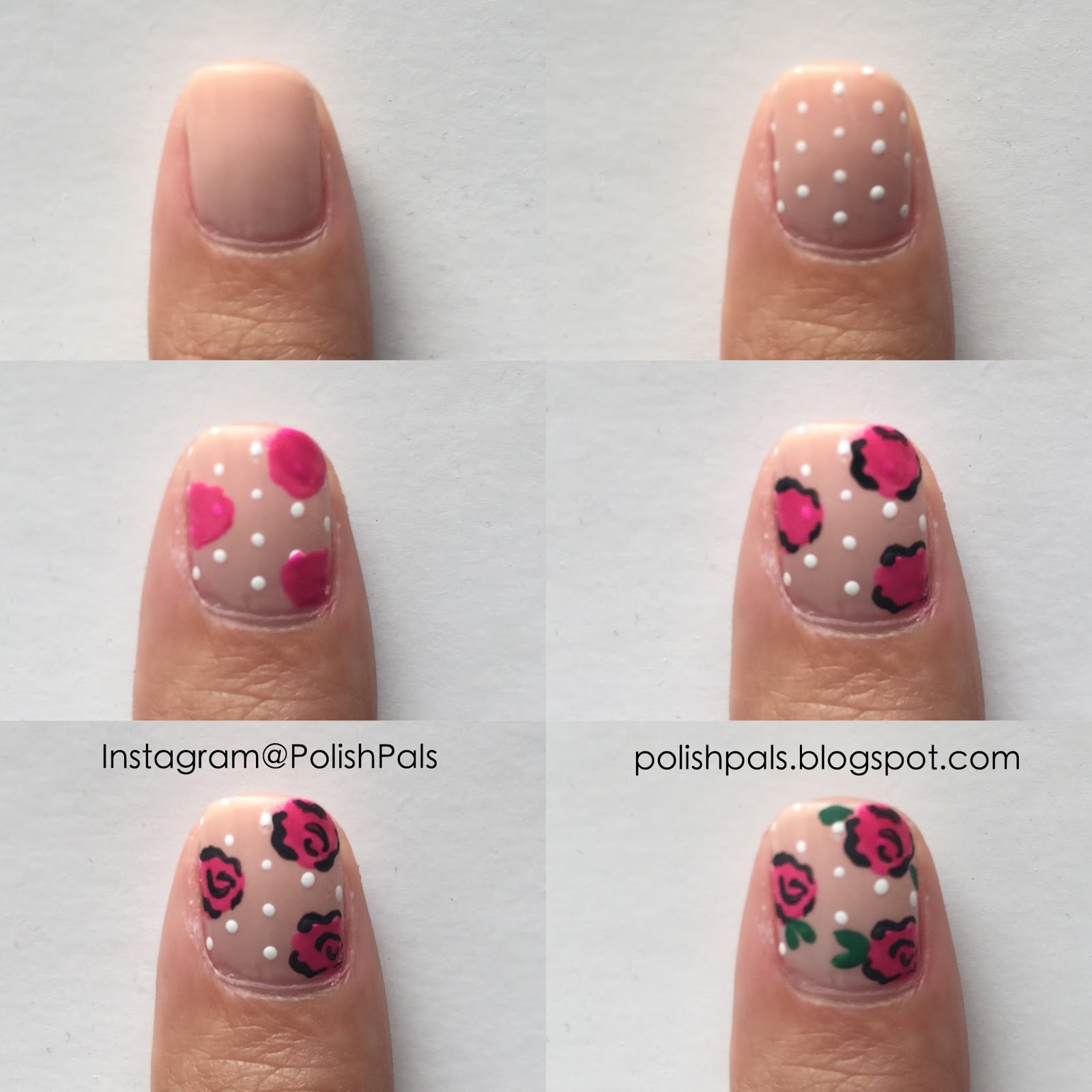 Polish pals dainty rose nails tutorial ah here is my rose nail art tutorial the polka dot step is optional if you dont like them but i wouldnt dare go without them for these dainty roses prinsesfo Gallery