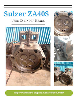 Cylinder Head, sulzer ZA40S, used, reconditioned, engine, spare parts, ship spares