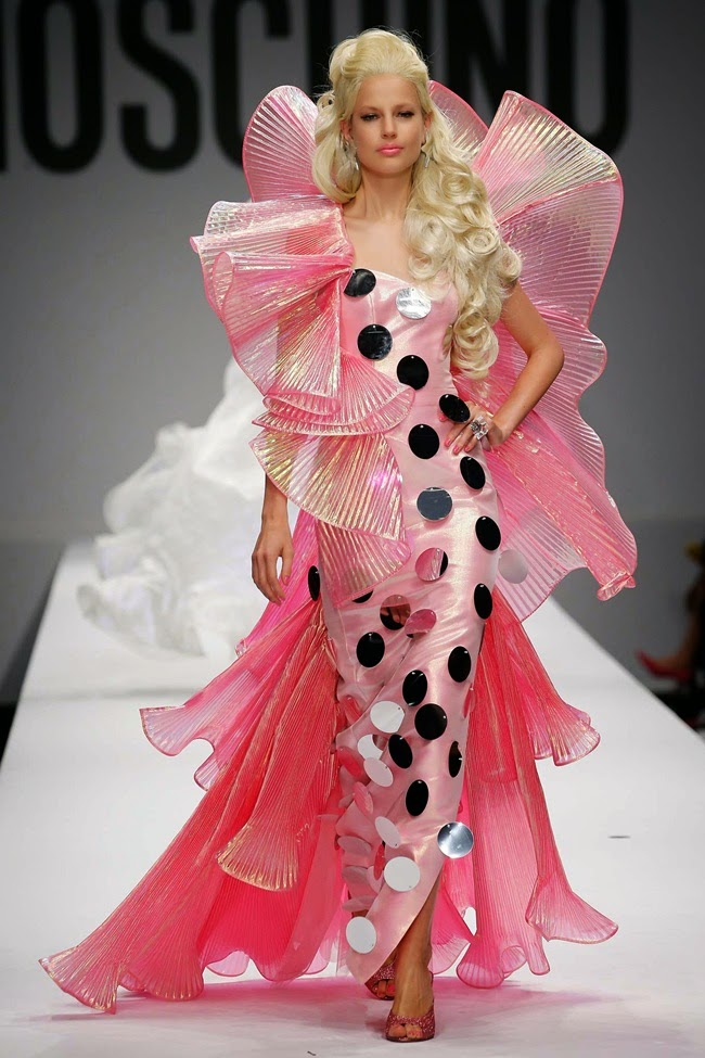 Moschino SS15 Barbie Pink Gown on Runway